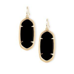 🆕KENDRA SCOTT Elle Black Drop Earrings in Gold